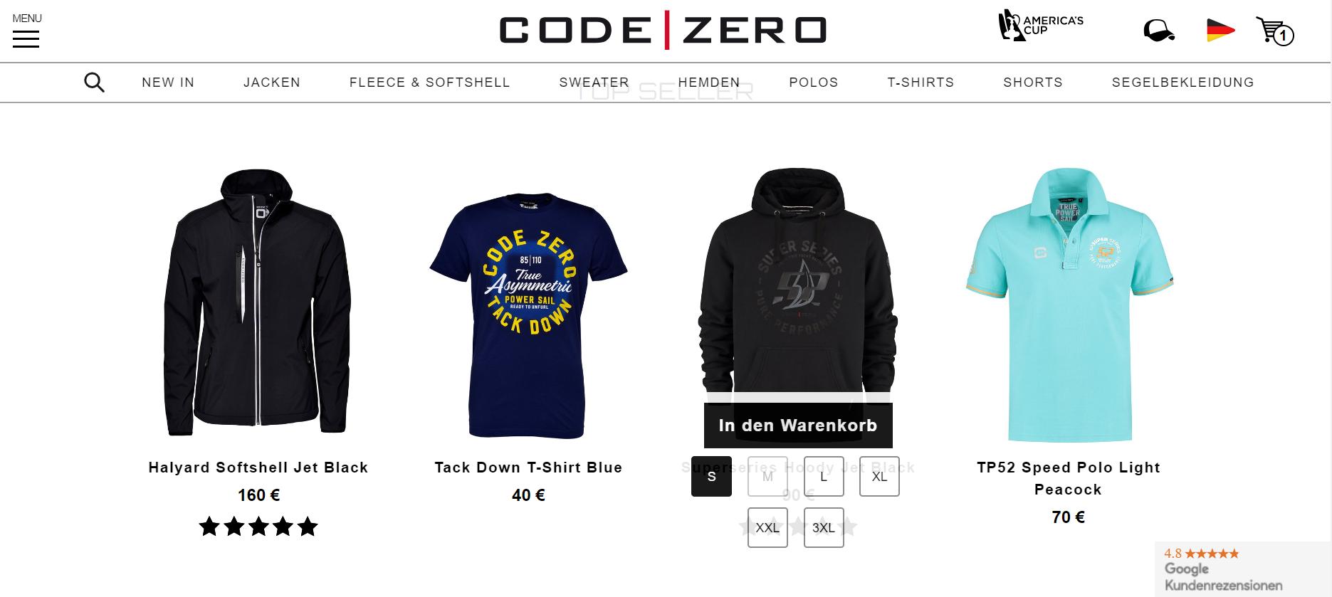 code-zero-quick-shop-startpage